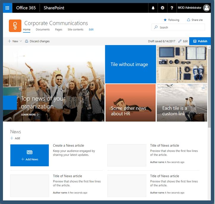 Microsoft Sharepoint Communication Site
